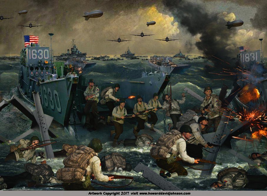 D-Day Landing painting U S Army at Omaha Beach