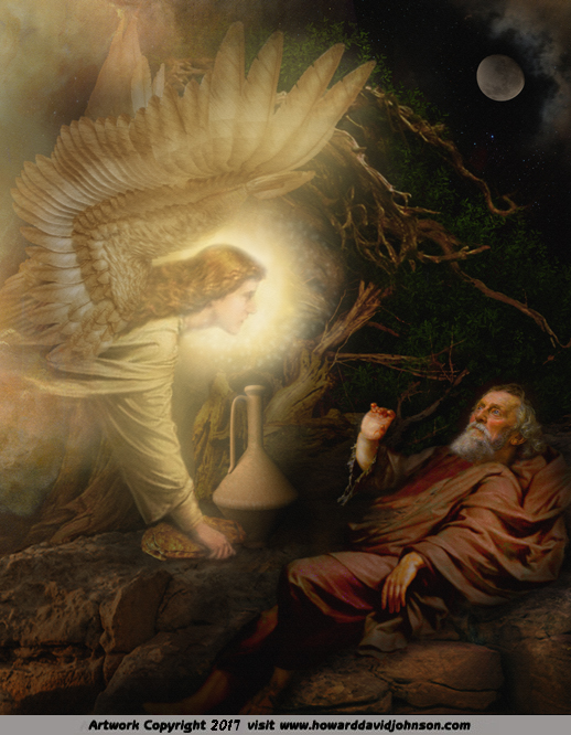Painting of the Prophet Elijah fed by the Angel of the LORD on Mt. Horeb ~ Art Work