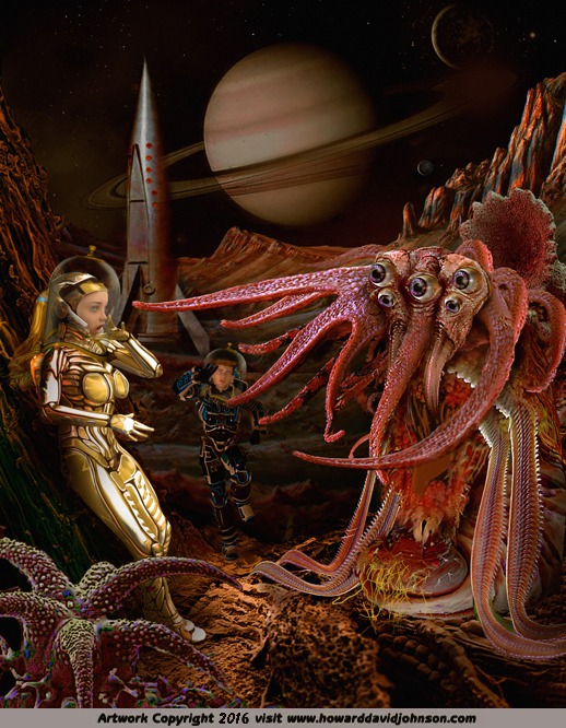 weird science fiction and fantasy artwork tentacle alien space girl