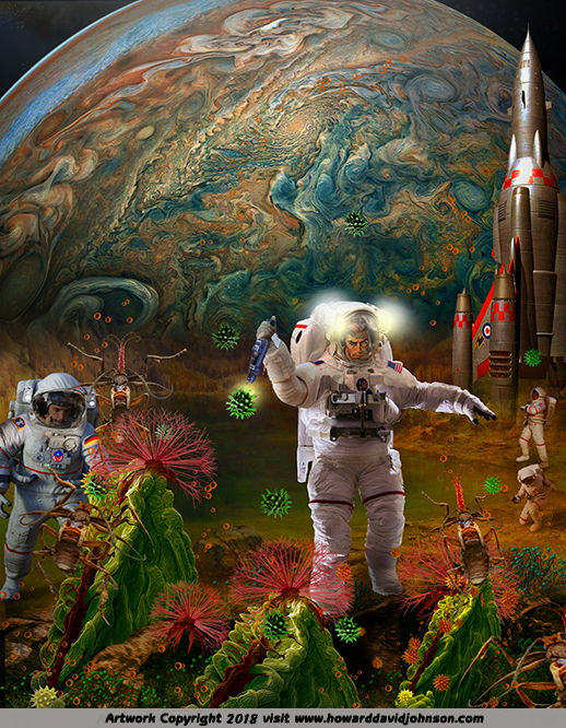 astronauts exploring the moons of jupiter aRTWORK MPAINTING
