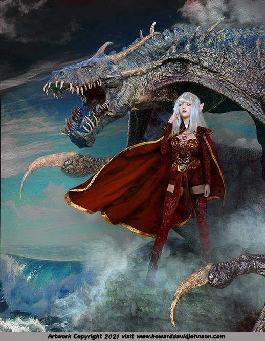 Fairy Queen FAND and the Sea Dragon celtic irish dragn art painting realistic