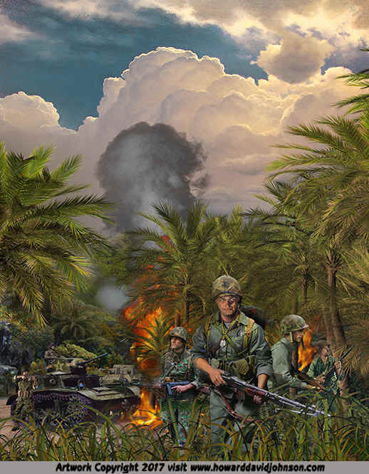 Marines at Guadal Canal Campaign WW2 Painting