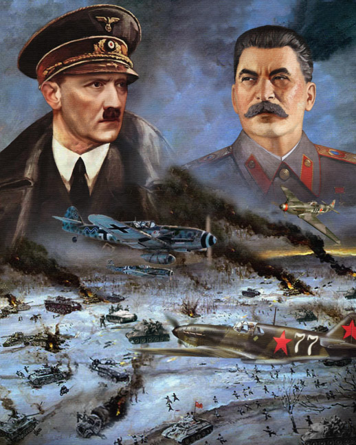 painitng nazi german russan soviet war fron portrate stallin hitler
