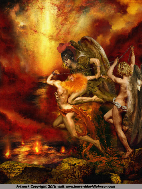 biblical art painting angel devil cast out deliverence lost