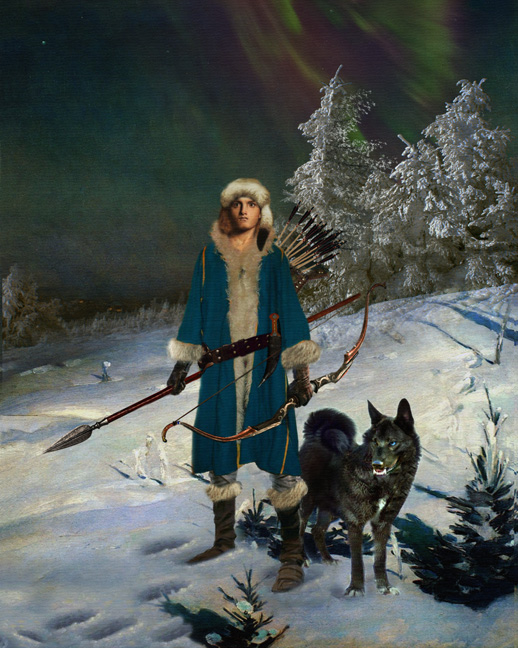painting of nordic hunter in wenter