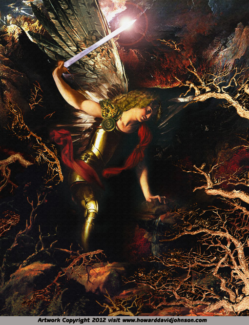 fine art archangel michael distroying fear cutting saving angel painting