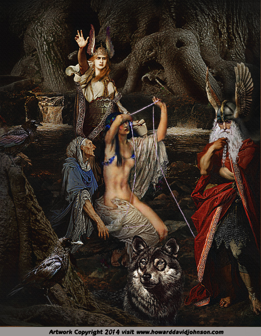 picture of odin allfather with norns at yggdrasill