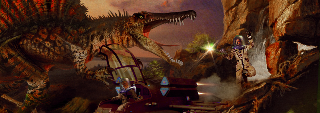 Dinosaur Planet art work astronauts shipwrecked