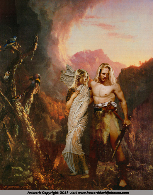 painting of the hero siegfried and the maiden Brunhilde