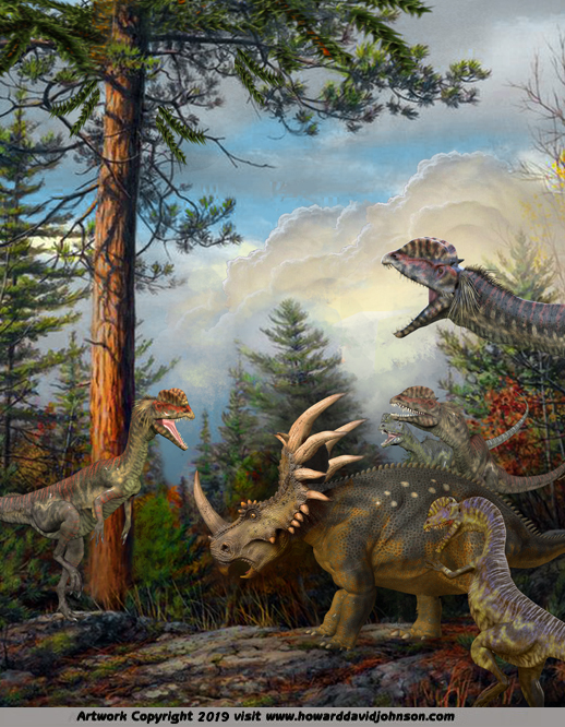 Styracosaurus dinosaur art paleoart painting illustration scientific