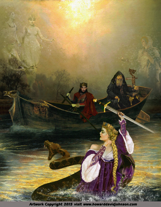 The Lady in the Lake from the King Arthur Nimue, Viviane, Vivien, Elaine, Ninianne, Nivian, Nyneve, or Evienne