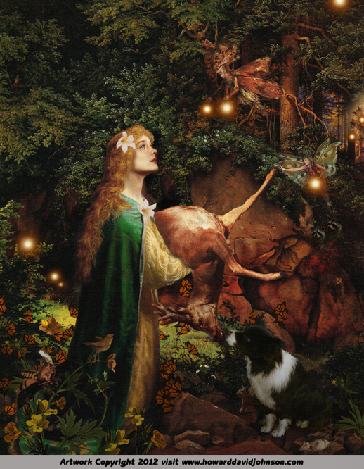 fairy painting goddess protector of the forest