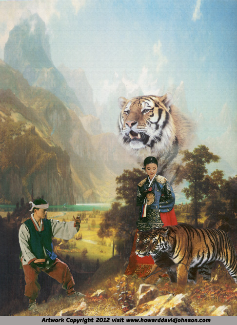 asian art myth legend tiger girl