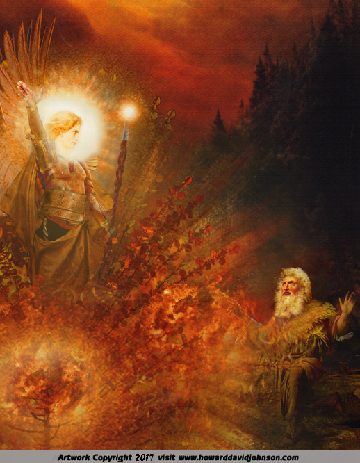 Moses kneeling before glowing angel speaking from the burning bush on Mt. Sinai - Old Testament art work Book of Exodus