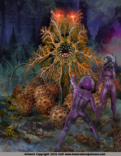 New and Bizarre Science Fiction and Fantasy Artwork; Illustrations depicting Fantastic and futuristic fantasy Worlds exotic plant and animal lifeforms astronauts painting
