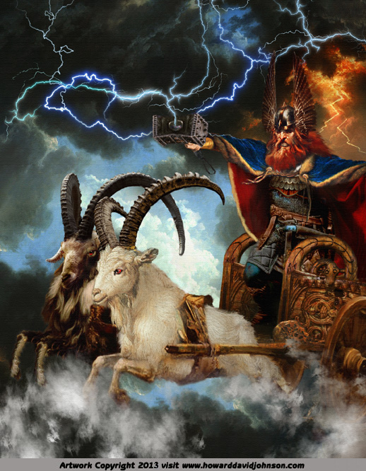 painting of thor god lightning thunder war chariote