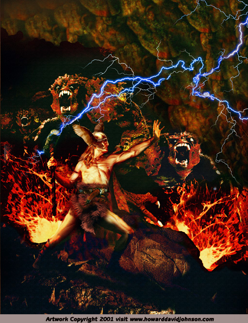 Thor versus the Fire Trolls art norse painting