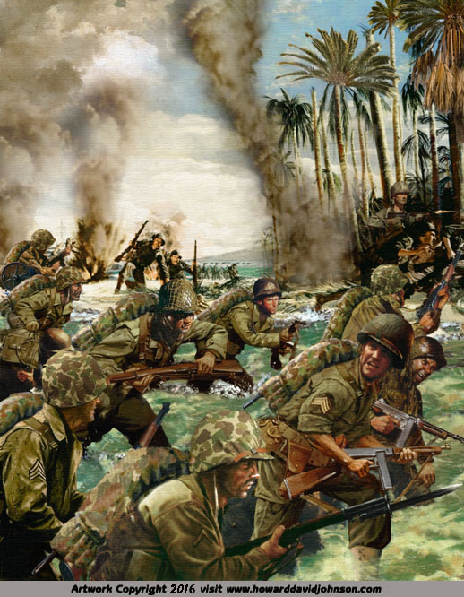 beach assult world war solder painting