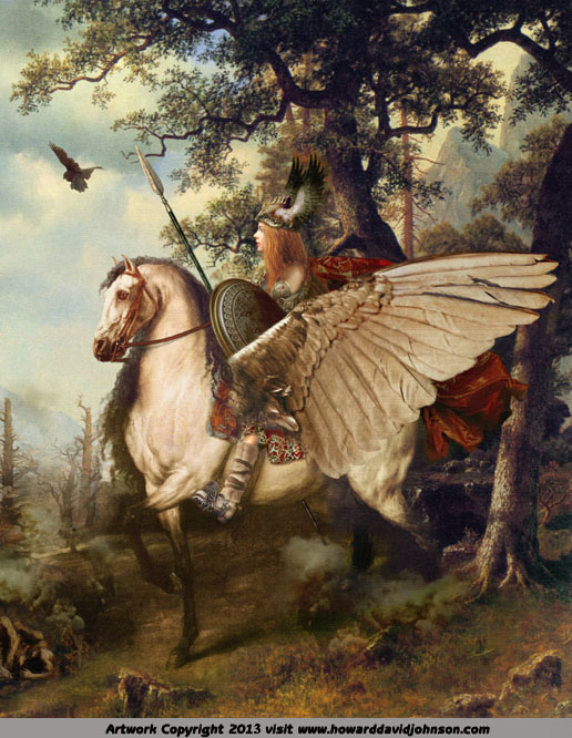 valkyrie on winged steed fine art