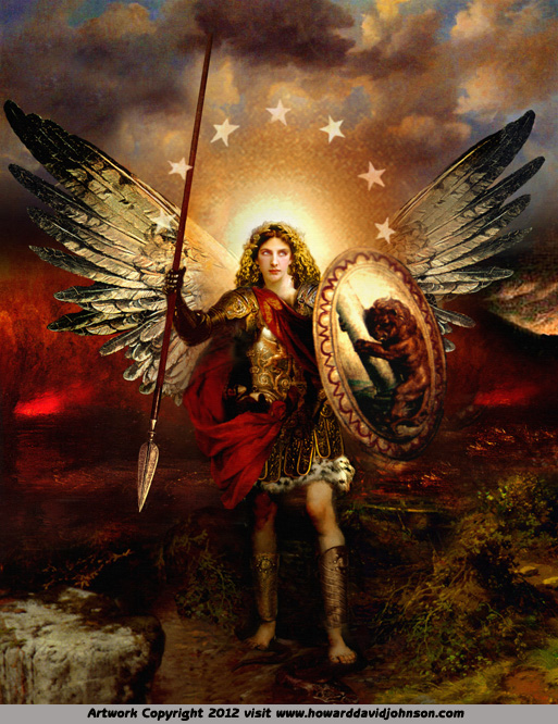painting archangel angel angelic Michael warrior god